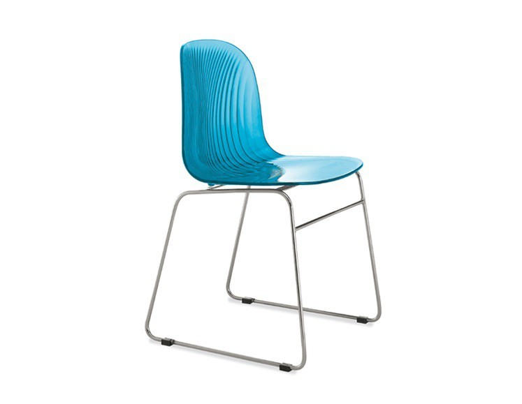 Stolička Playa-T (chrómovaná oceľ, svetlo modrá)