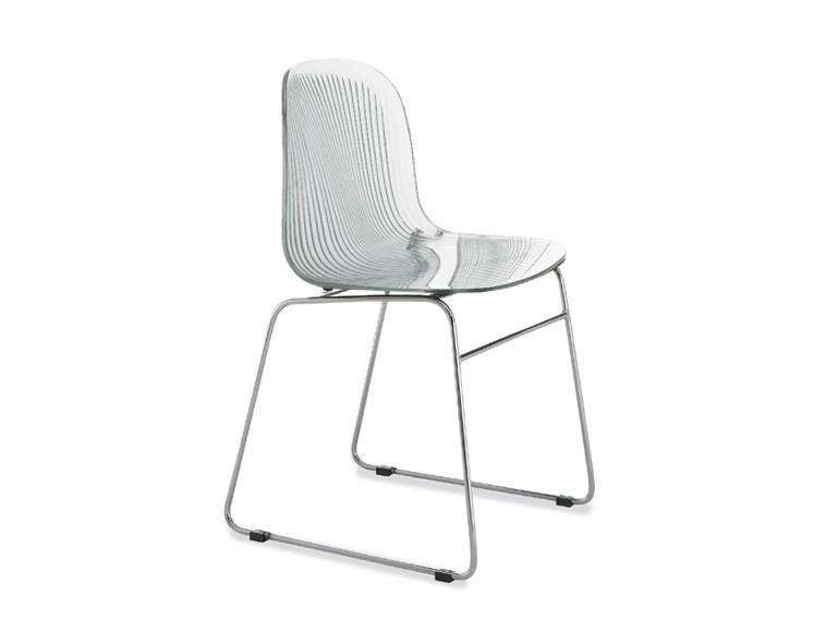Stolička Playa-T (chrómovaná oceľ, transparentní)