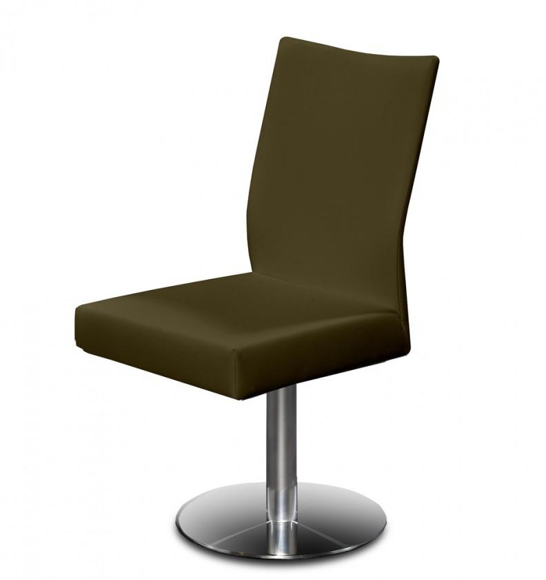 Stolička Set - centrálna noha (oceľ nerez, hnedá)