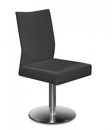 Stolička Set - centrálna noha (oceľ nerez, koža čierna)