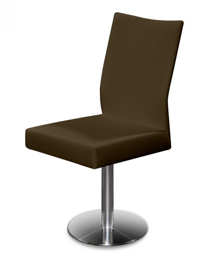 Stolička Set - centrálna noha (oceľ nerez, koža hnedá)