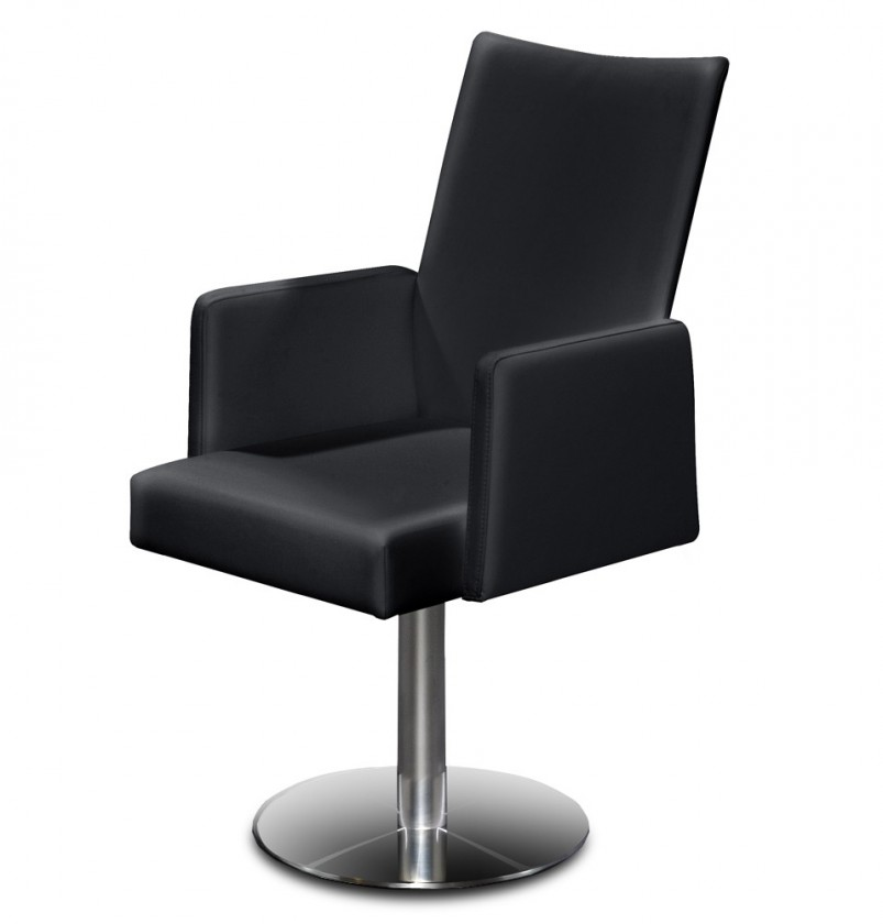 Stolička Set - centrálna noha, podrúčky (oceľ nerez, eko kože čierna)