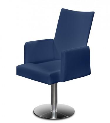Stolička Set - centrálna noha, podrúčky (oceľ nerez, modrá)