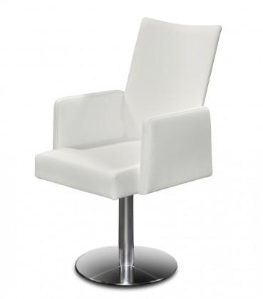 Stolička Set - centrálna noha, podrúčky (oceľ nerez, pravá koža biela)