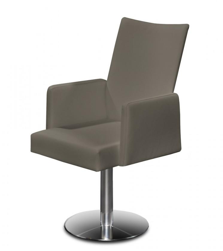 Stolička Set - centrálna noha, podrúčky (oceľ nerez, sivohnedá)