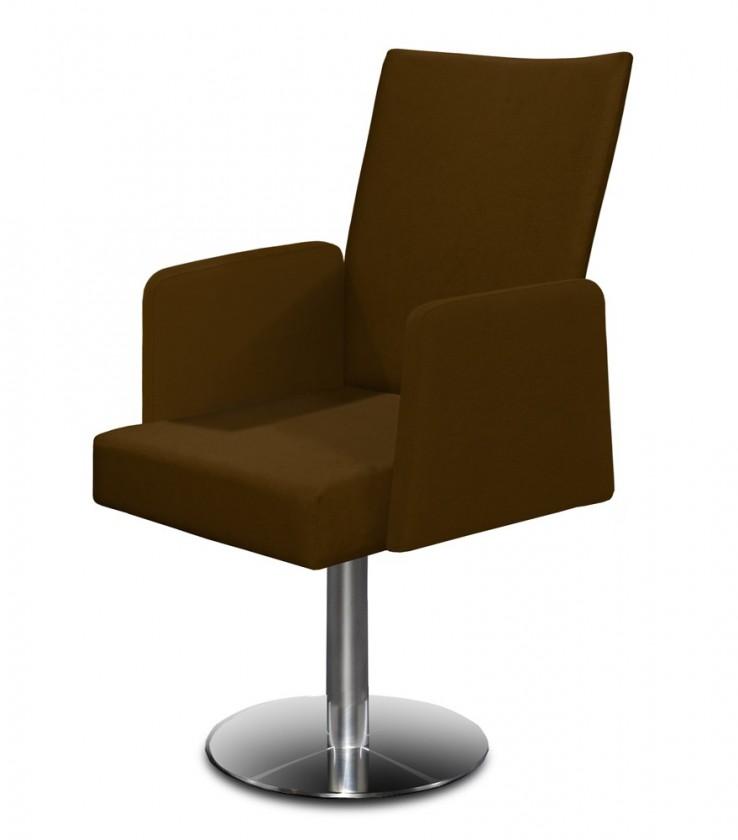 Stolička Set - centrálna noha, podrúčky (oceľ nerez, tmavo hnedá)