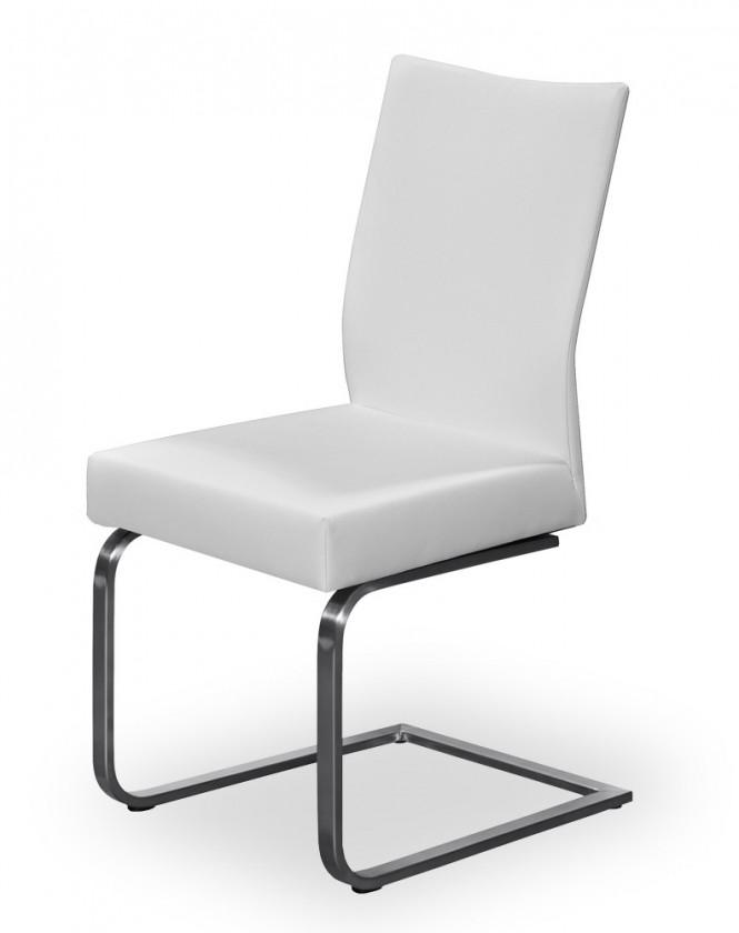 Stolička Set - hojdacia (oceľ nerez, pravá koža biela)