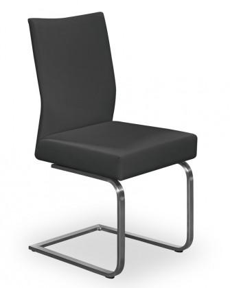 Stolička Set - hojdacia (oceľ nerez, pravá koža čierna)