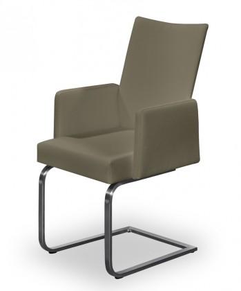 Stolička Set - hojdacia, podrúčky (oceľ nerez, eko kože svetle hnedá)