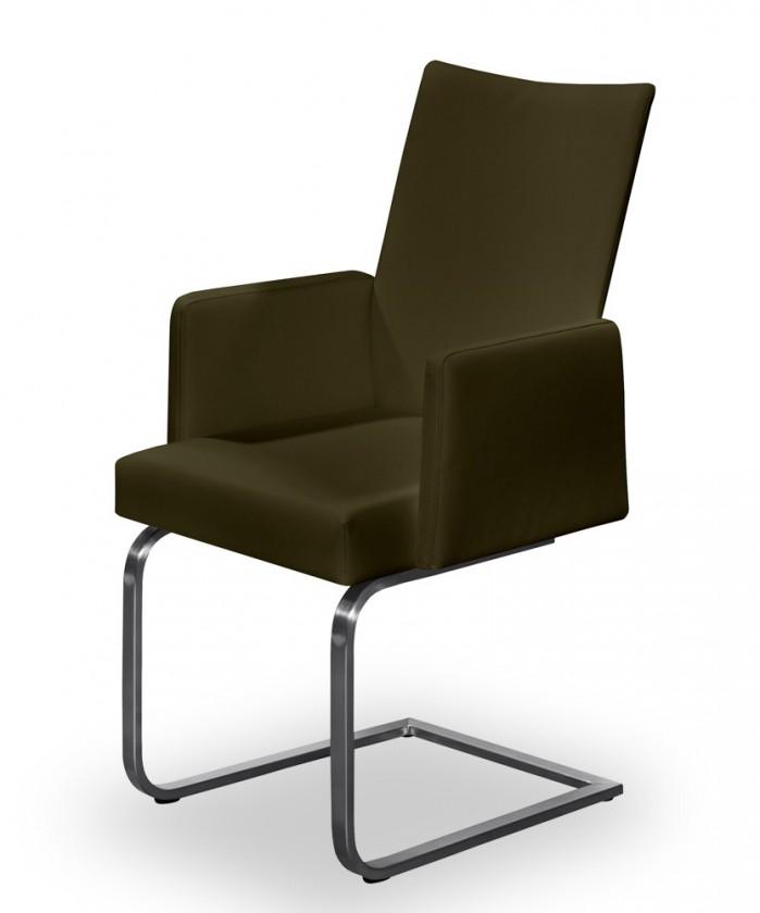 Stolička Set - hojdacia, podrúčky (oceľ nerez, hnedá)