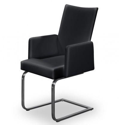 Stolička Set - hojdacia, podrúčky (oceľ nerez, pravá koža čierna)
