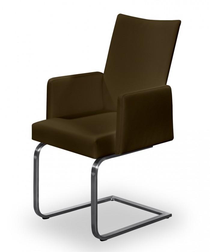 Stolička Set - hojdacia, podrúčky (oceľ nerez, pravá koža hnedá)