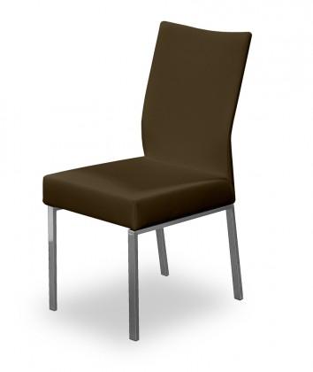 Stolička Set (oceľ nerez, pravá koža hnedá)