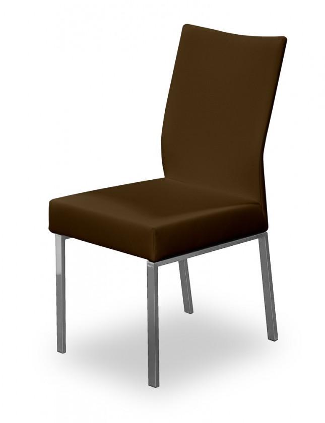 Stolička Set (oceľ nerez, tmavo hnedá)