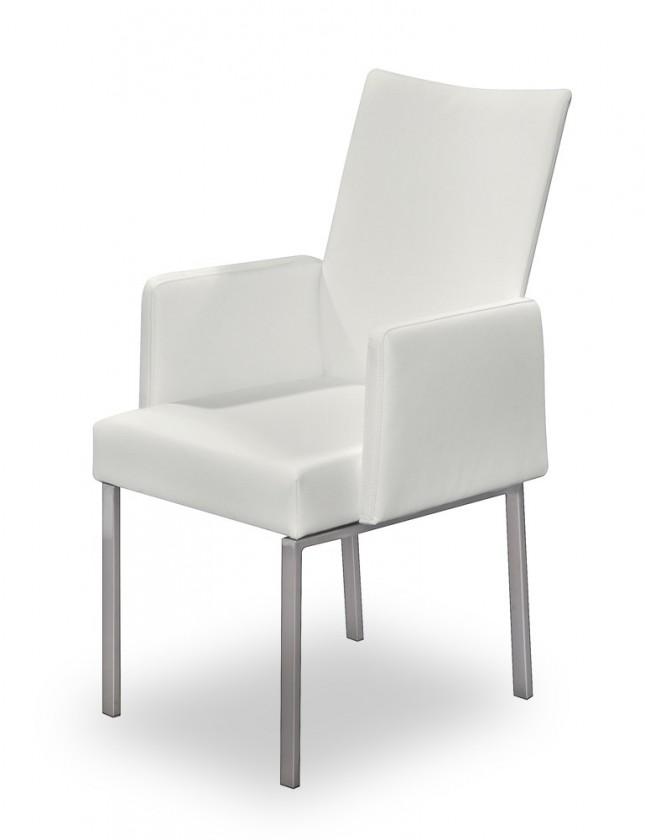 Stolička Set - podrúčky (oceľ nerez, eko kože biela)