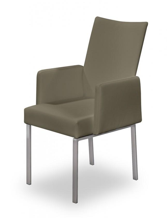 Stolička Set - podrúčky (oceľ nerez, eko kože sv. hnedá)