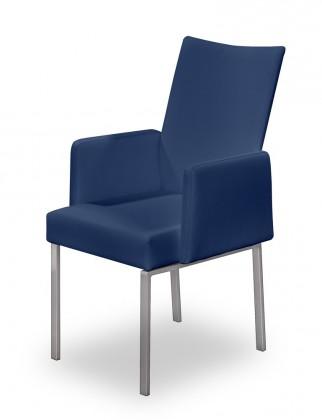 Stolička Set - podrúčky (oceľ nerez, modrá)