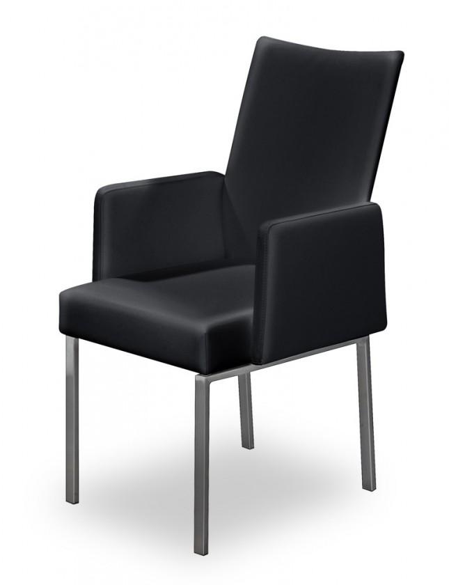 Stolička Set - podrúčky (oceľ nerez, pravá koža čierna)