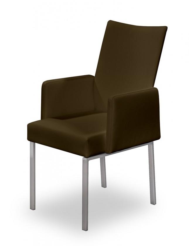 Stolička Set - podrúčky (oceľ nerez, pravá koža hnedá)