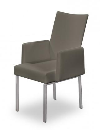 Stolička Set - podrúčky (oceľ nerez, sivohnedá)