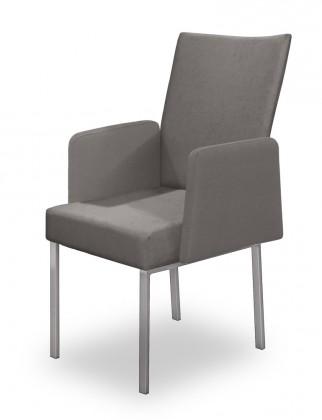 Stolička Set - podrúčky (oceľ nerez, svetle sivá)