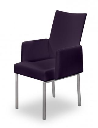 Stolička Set - podrúčky (oceľ nerez, temne fialová)