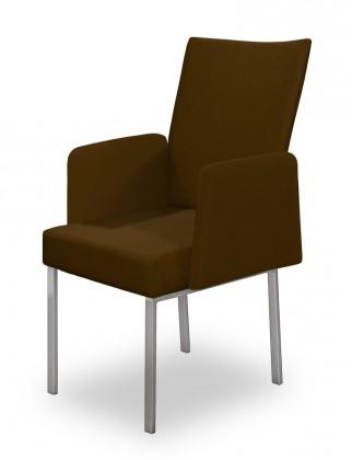 Stolička Set - podrúčky (oceľ nerez, tmavo hnedá)