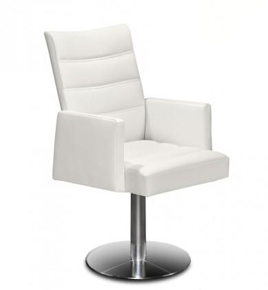 Stolička Set - prešívaná, centrál.noha, podrúčky (oceľ nerez, koža biela)