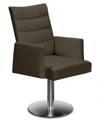 Stolička Set - prešívaná, centrál.noha, podrúčky (oceľ nerez, koža hnedá)
