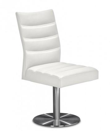 Stolička Set - prešívaná, centrálna noha (oceľ nerez, biela)