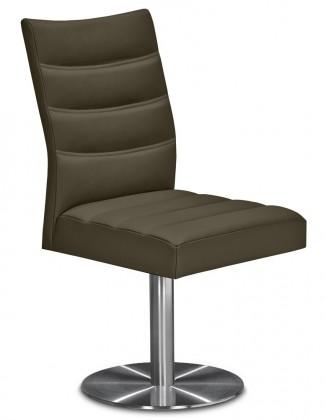 Stolička Set - prešívaná, centrálna noha (oceľ nerez, sahara)