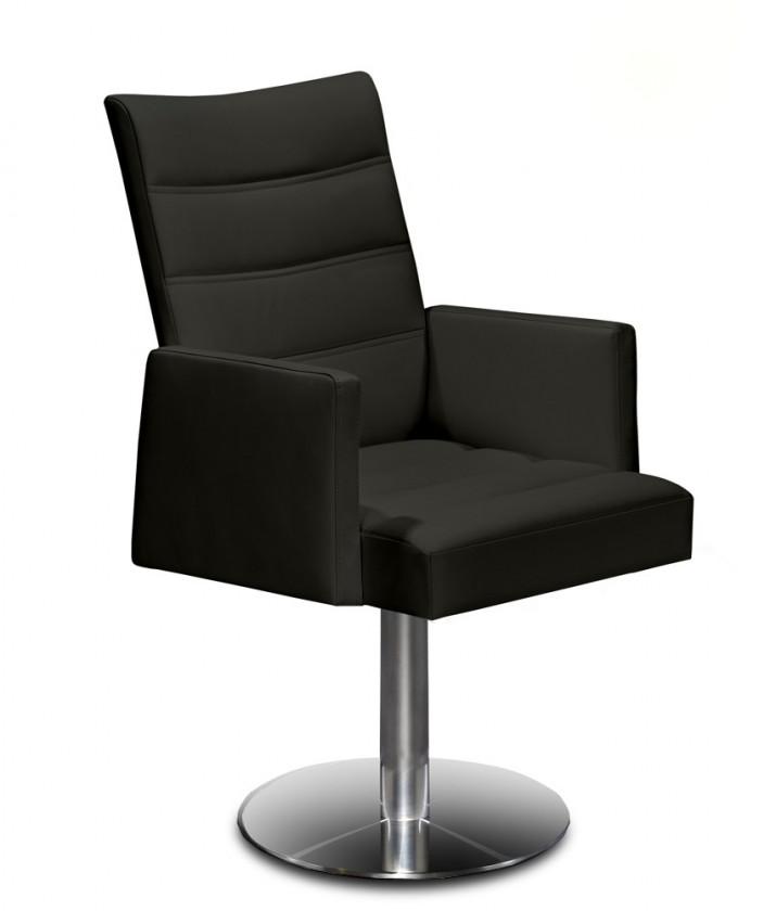 Stolička Set - prešívaná, centrálna noha, podrúčky (oceľ nerez, čierna)