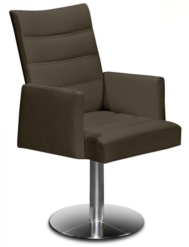 Stolička Set - prešívaná, centrálna noha, podrúčky (oceľ nerez, sahara)