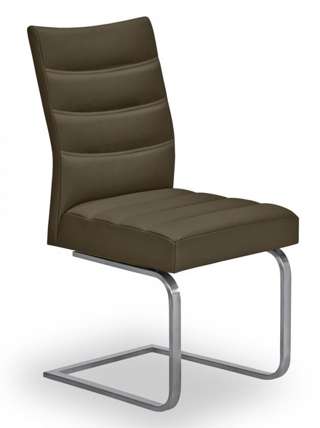 Stolička Set - prešívaná, hojdacia (oceľ nerez, hnedá)