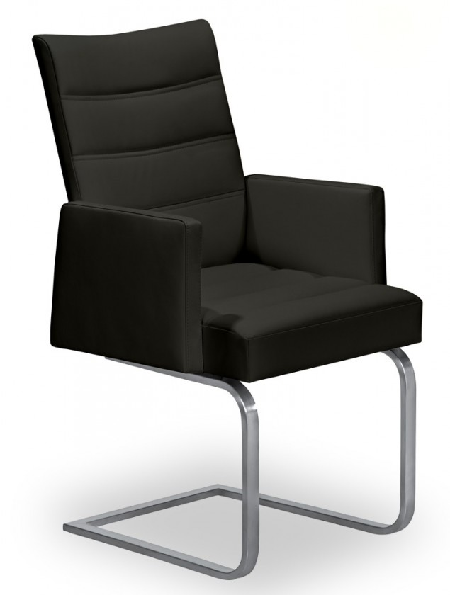 Stolička Set - prešívaná, hojdacia, podrúčky (oceľ nerez, čierna)