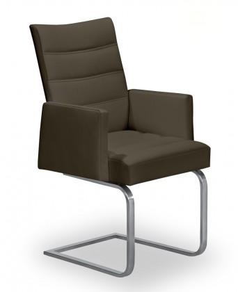 Stolička Set - prešívaná, hojdacia, podrúčky (oceľ nerez, hnedá)