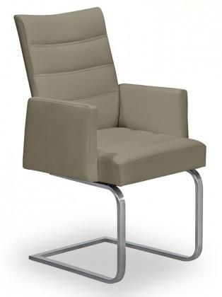 Stolička Set - prešívaná, hojdacia, podrúčky (oceľ nerez, svetlo hnedá)