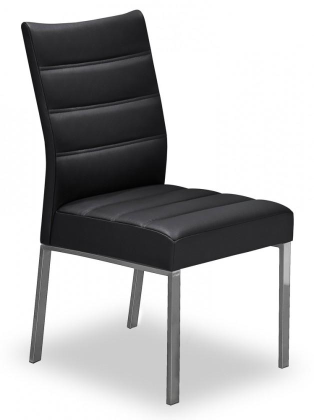 Stolička Set - prešívaná (oceľ nerez, eko kože čierna)