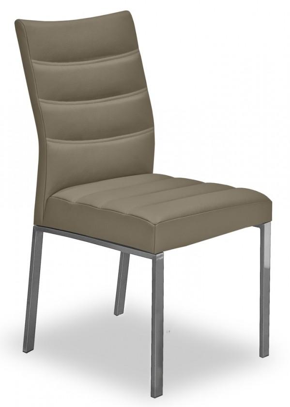 Stolička Set - prešívaná (oceľ nerez, eko kože svetle hnedá)