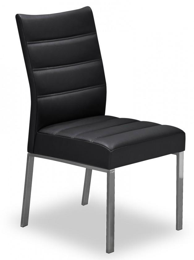 Stolička Set - prešívaná (oceľ nerez, pravá koža čierna)