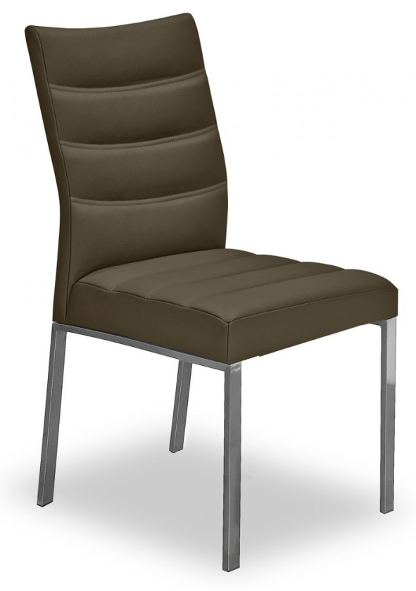 Stolička Set - prešívaná (oceľ nerez, pravá koža hnedá)