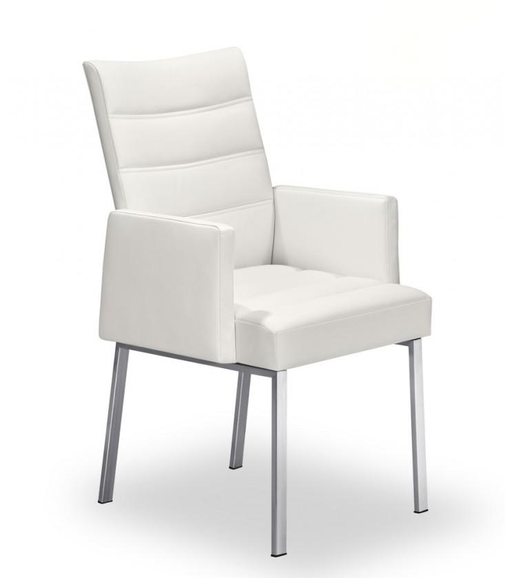 Stolička Set - prešívaná, podrúčky (oceľ nerez, biela)
