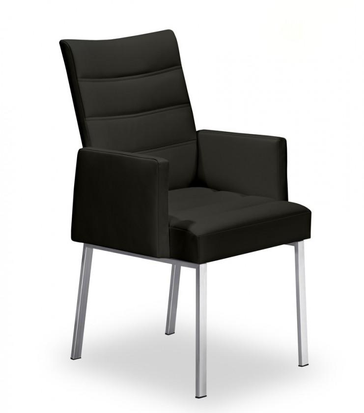 Stolička Set - prešívaná, podrúčky (oceľ nerez, čierna)