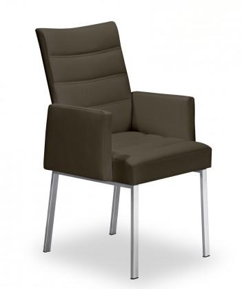 Stolička Set - prešívaná, podrúčky (oceľ nerez, hnedá)