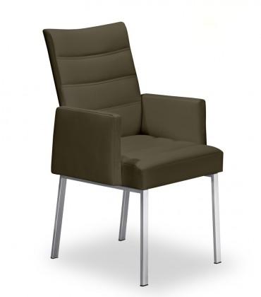 Stolička Set - prešívaná, podrúčky (oceľ nerez, sahara)