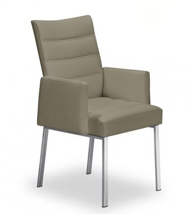 Stolička Set - prešívaná, podrúčky (oceľ nerez, svetlo hnedá)