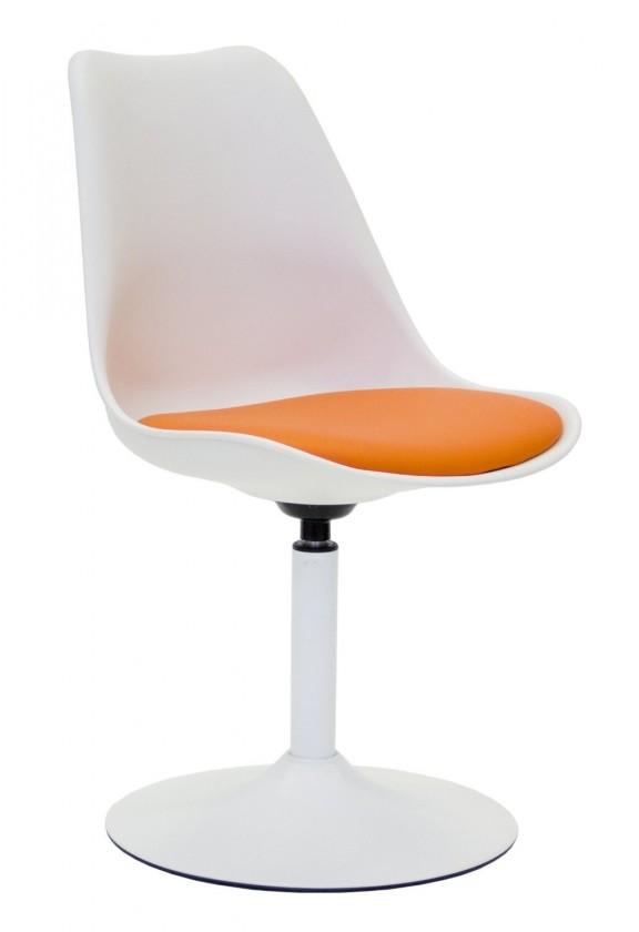 Stolička Tequila - Jedálenská stolička (biela, eko koža oranžová)