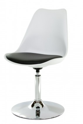 Stolička Tequila - Jedálenská stolička (chrom, biela, eko koža čierna)
