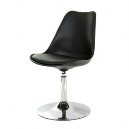 Stolička Tequila - Jedálenská stolička (chrom, čierna, eko koža čierna)