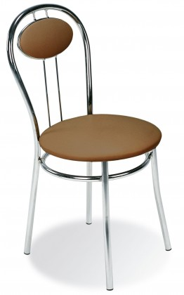 Stolička Tiziano (svetle hnedá, chróm)